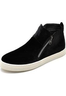 Bota Top Franca Shoes Hiate Veludo Feminino - Feminino-Preto