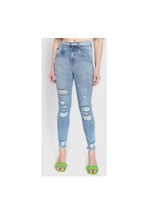 Calça Jeans Lança Perfume Skinny Vesta Destroyed Azul