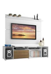 Rack Madesa Cancun E Painel Para Tv Até 65 Polegadas Branco/Rustic/Branco