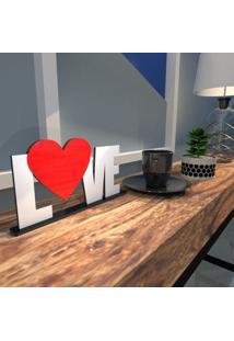 Escultura De Mesa Branco Love Heart Vermelho Único