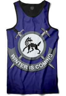 16c3c0f1a01d3 ... Camiseta Insane 10 Regata O Inverno Está Chegando Sublimada Preto Azul
