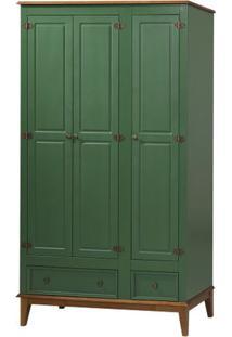 Armario Malibu 3 Portas E 2 Gavetas Cor Verde Com Amendoa 204 Cm - 63588 - Sun House