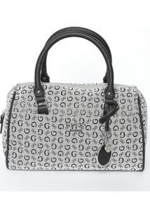 """Bolsa """"Guessâ®"""" Com Bag Charm- Cinza Claro & Preta- 1Guess"""