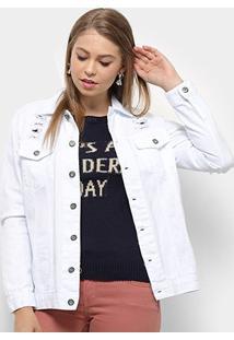 Jaqueta Jeans Razon Destroyed Feminina - Feminino-Branco