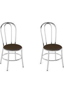 Cadeiras Kit 2 Cadeiras Pc01 Assento Cacau - Pozza