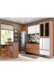 Cozinha Compacta 6 Peças Calábria 5463 - Multimóveis - Nogueira / Branco