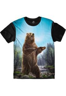 Camiseta Bsc Urso Louco Sublimada Preto/Azul