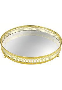 Bandeja Mart De Metal Com Espelho Dourada Circulus 7178