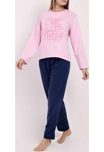 Pijama Moletom Feminino Rosa/Azul