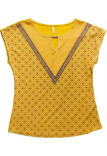 Blusa Decote Redondo Estampada Amarelo