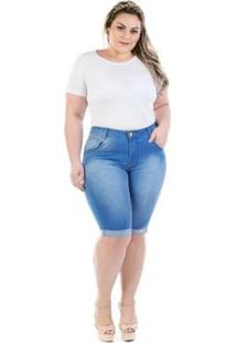 Bermuda Feminina Jeans Missy Tradicional Com Elastano Plus Size - Feminino-Azul