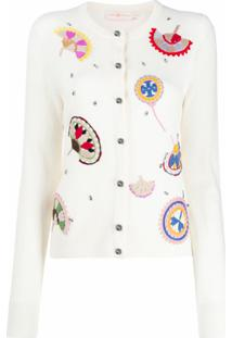 Tory Burch Cardigan De Tricô Com Bordado - Neutro