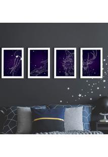 Quadros Espaço Constelações Moldura Branca 22X32Cm Kit 4Un