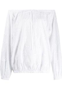 Love Moschino Off-Shoulder Floral Blouse - Branco