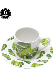 Conjunto 6Pçs Xícaras De Cerâmica Para Café Com Pires Folhas 90Ml Bon Gourmet