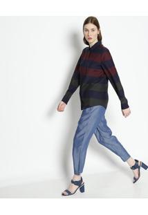 Camisa Listrada Com Seda- Azul Marinho & Bordã´- Lacolacoste