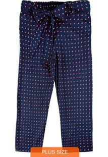 Calça Azul Marinho Pantacourt Em Tecido Plano