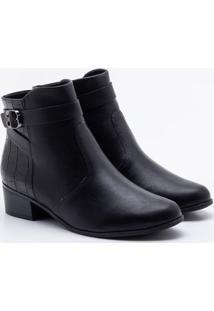 Ankle Boot Comfortflex Croco Preta 34