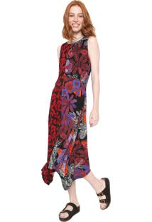 Vestido Desigual Midi Maggy Preto/Vermelho