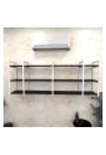 Estante Industrial Escritório Aço Cor Branco 180X30X68Cm (C)X(L)X(A) Cor Mdf Preto Modelo Ind34Pes
