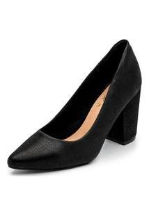 Sapato Peep Toe Ankle Boot Salto Grosso Confortável - Preto