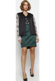 Casaqueto Com Bordado- Preto & Bege- Dress Todayênfase
