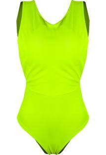 c71eb3aeba ... Body Outlet Dri Alça Grossa Neon Color Verão Decote Costas Verde Neon