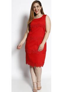 Vestido Texturizado Com Renda- Vermelho- Cotton Colocotton Colors Extra