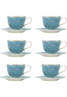 Jogo 6 Xícaras De Café Com Pires Wolff Givemy Porcelana 90Ml Azul