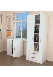 Conjunto Escritório Office Plus Appunto 2 Peças: Balcão Para Escritório E Armário Estante Com Portas E Gavetas - Branco