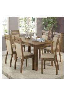 Conjunto Sala De Jantar Madesa Jessy Mesa Tampo De Madeira Com 6 Cadeiras Rustic/Pérola