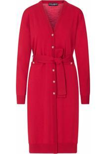 Dolce & Gabbana Cardigan Longo Com Cinto De Lã - Vermelho