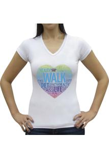 Camiseta Baby Look Casual Sport Walk Branca