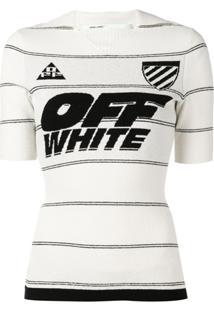 Off-White Blusa Slim Com Logo - Branco
