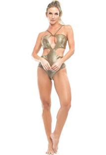 Body Texturizado Metalizado- Dourado- Vestemvestem