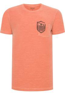 Camiseta Masculina Flamê Bolso Brasão - Laranja