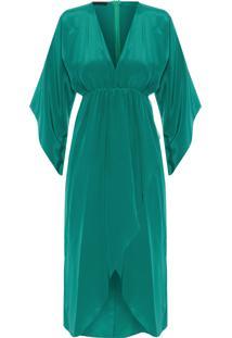 Vestido Transpassado Decote V Franzido - Verde