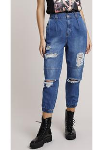 Calça Jeans Feminina Jogger Cintura Alta Destroyed Azul Médio