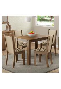 Conjunto Sala De Jantar Cíntia Madesa Mesa Tampo De Madeira Com 4 Cadeiras Marrom