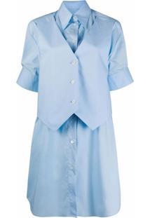 Mm6 Maison Margiela Chemise Com Acabamento Engomado - Azul