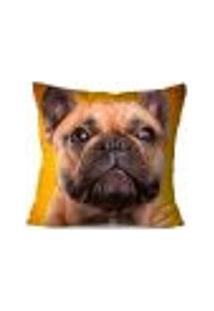 Capa De Almofada Decorativa Bulldog Amarelo 45X45Cm