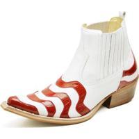 482adec4d5d8b Bota Country Top Franca Shoes Bico Fino Verniz Masculino - Masculino -Branco+Vermelho