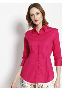 Camisa Com Bordado & Botãµes- Rosa- Dbz Jeansdbz Jeans