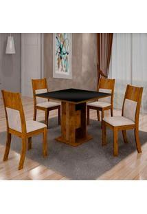 Mesa De Jantar Invicta 0,90M Com Vidro Preto + 4 Cadeiras Invicta Veludo Palhada - Canela