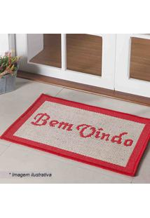 "Tapete ""Bem Vindo""- Off White & Vermelho- 60X40Cm"