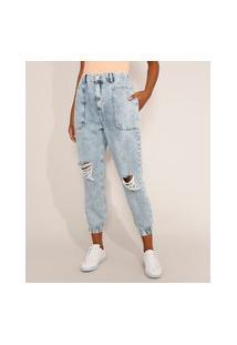 Calça Jeans Feminina Jogger Cintura Super Alta Destroyed Marmorizada Azul Claro