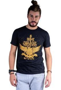 Camiseta Mister Fish Estampado Rock And Roll Masculina - Masculino-Preto