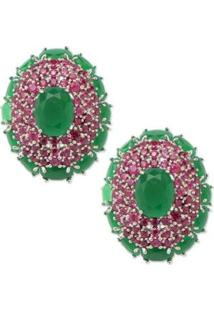 Brinco Oval Cravejado Com Micro Zircônias Banho Em Ródio - Feminino-Pink+Verde