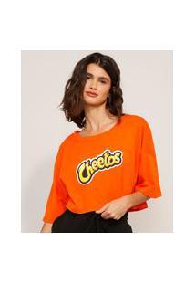 Camiseta Cropped De Algodão Cheetos Manga Curta Decote Redondo Laranja
