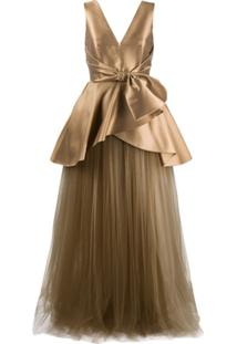 Alberta Ferretti Vestido De Festa De Cetim E Tule - Dourado